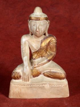Oud albasten beeldje van Mandalay Boeddha in Bhumiparsa Mudra