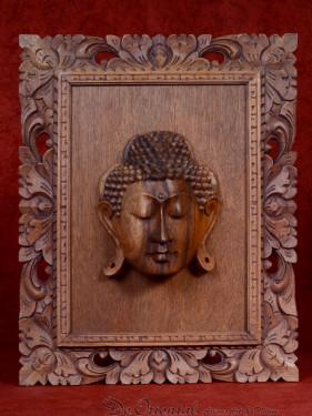 Handgesneden houten paneel met Boeddha