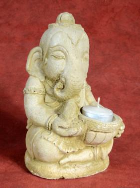 Stenen tuinkandelaartje van Ganesha