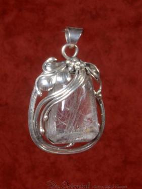 Rutielkwarts handgemaakte hanger zilver