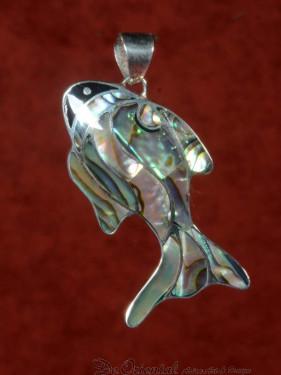 Decoratieve zilveren met parelmoer ingelegde hanger vis