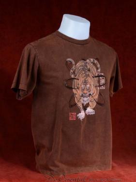 Exclusief T-shirt met Chinese tijger bruin, stonewash. XXL