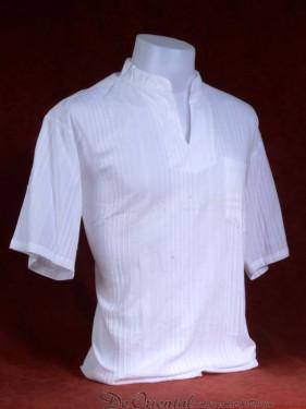 Exclusief Linnen tropenshirt met ingeweven lijnpatroon egaal wit