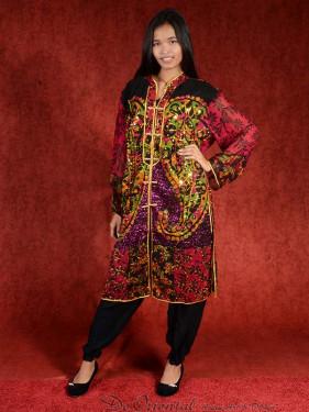 Salwar kameez, Indiase jurk of Punjabi dress bordeaux gold
