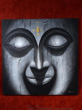 Schilderij met hoofd van Boeddha greytone