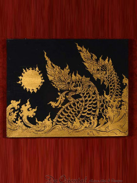 Schilderij golden dragons Thai style