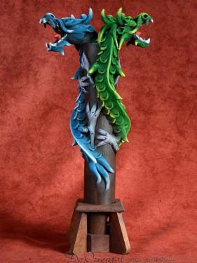 Wierookbrander met dubbele draak blauw - groen