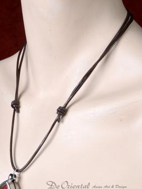 Leren koord (veter) met schuifknoop donker bruin