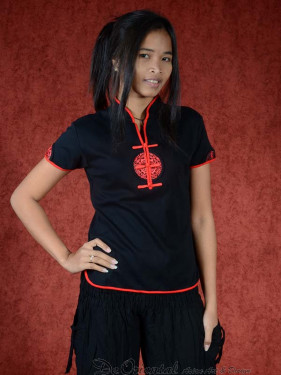 Shirt Ying zwart - rood