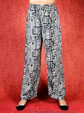 Tai chi broek met touwtje patern print zwart
