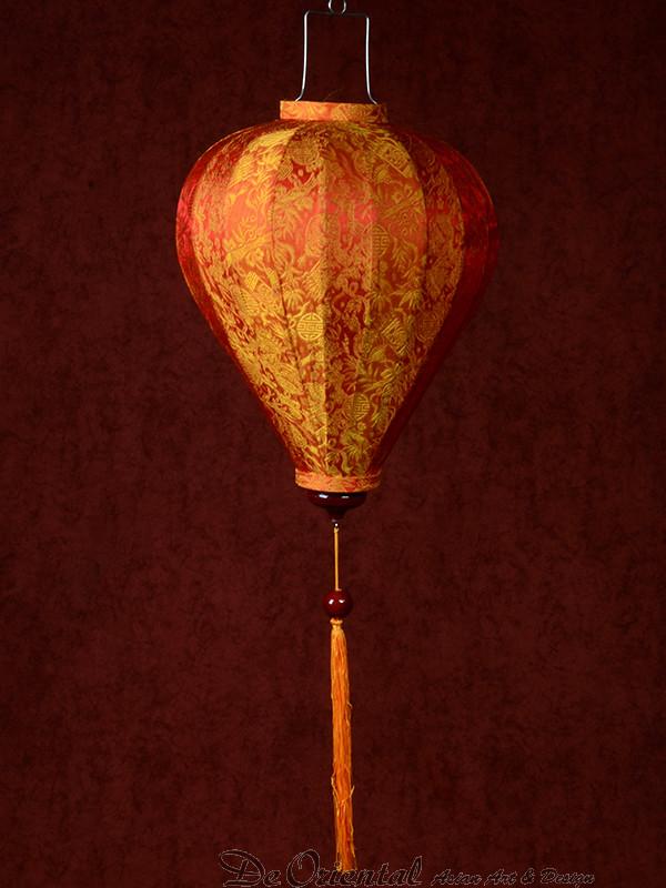Chinese Lampion Lamp klein oranje-goud | De Oriental