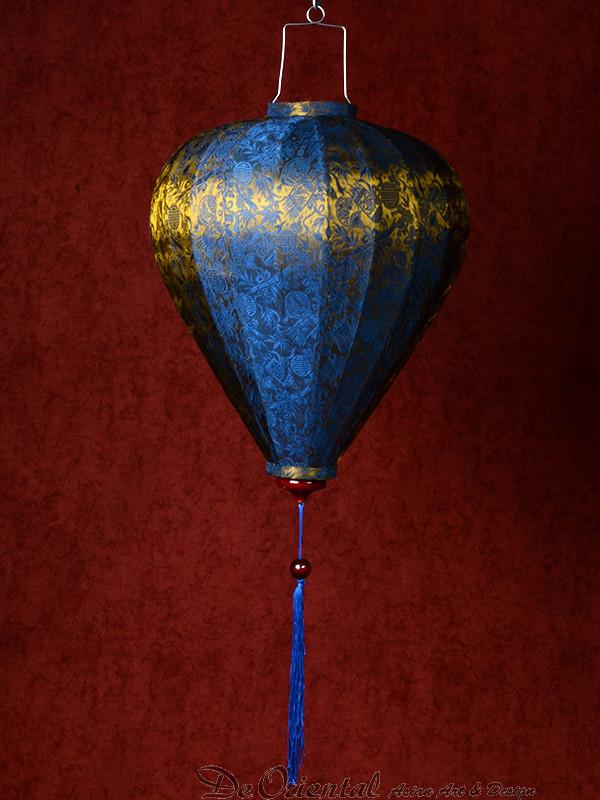 chinese lampion lamp medium blauw goud de oriental. Black Bedroom Furniture Sets. Home Design Ideas