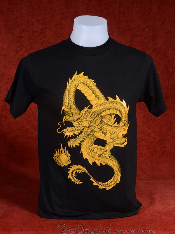T ZwartDe Shirt Gouden Chinese Oriental Met Draak g7vfYb6Iym