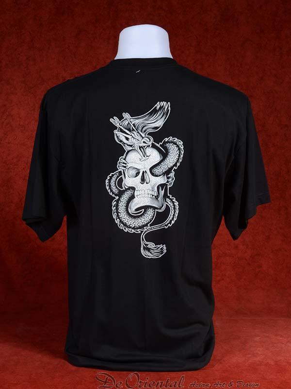 Shirt met zilveren Chinese Draak en schedel : De Oriental