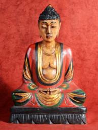 Grote handgesneden en geschilderde Boeddha in Vitakarka mudra
