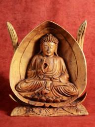 Boeddha in opengewerkte lotus uit Indonesie
