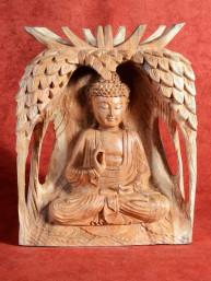 Houtsnijwerk van Boeddha in Vitakarka mudra