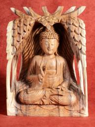 Decoratief Houtsnijwerk van Boeddha in Vitakarka mudra