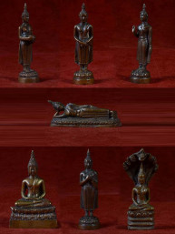 Set van 7 dagboeddha's brons