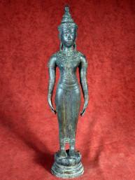 Staande Khmer Boeddha Brons.