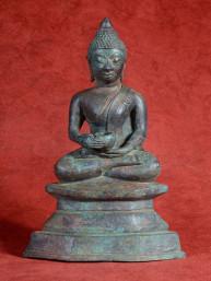 Boeddha zittend met bedelnap brons Laos