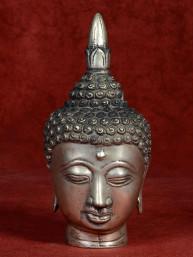 Hoofd van Boeddha brons vernikkeld