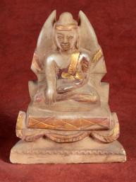Oud albasten beeldje van Mandalay Boeddha op troon