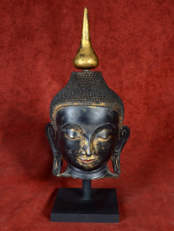 Boeddha hoofd vezelgemengd deels verguld