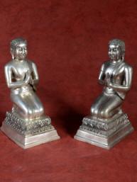 Set van monniken - adoranten brons vernikkeld