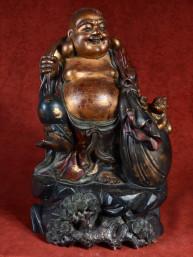 Zeer zwaar en oud beeld van Happy Boeddha uit privécollectie