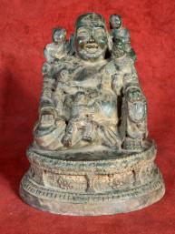Happy Boeddha met kinderen Brons