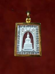 Boeddha amulet 18K goud met zilveren Boeddha