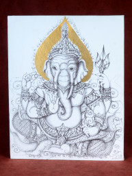 """Tekening met potlood en bladgoud """"Ganesha"""""""