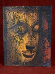 Olieverf schilderij met hoofd van Boeddha