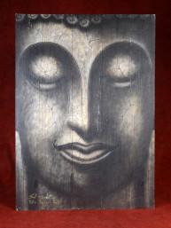 Hoofd van Boeddha op houten paneel