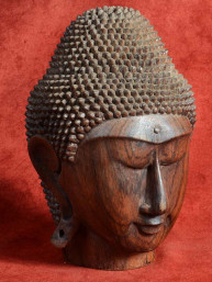 Hoofd van Boeddha Djati-teak