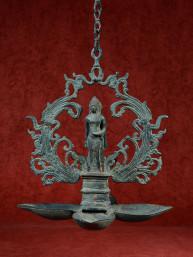 Olielamp in vorm van lotus met Boeddha brons
