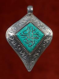 Hanger zilver met donkere turkoois