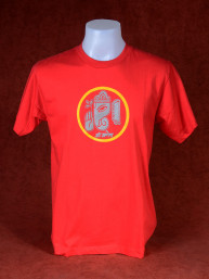 T-Shirt met afbeelding van Ganesha en Om rood