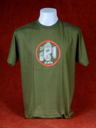 T-Shirt met afbeelding van Ganesha en Om - Legergroen