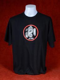 T-Shirt met afbeelding van Ganesha en Om - zwart