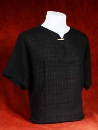 Exclusief Linnen tropenshirt met ingeweven patroon zwart