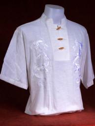 Exclusief Linnen tropenshirt met geborduurde zilveren draken wit