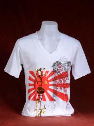 T-shirt met Yakuza print van Japanse vlag en Koi met Sumo wit