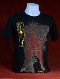 T-shirt met Yakuza print van Japanse Koi met Sumo zwart.