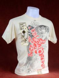 T-shirt met Yakuza print van Japanse Koi met Sumo creme