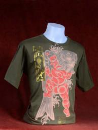 T-shirt met Yakuza print van Japanse Koi met Sumo groen