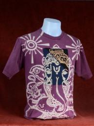 Modern T-shirt met Ganesha paars-zwart patchwork. L