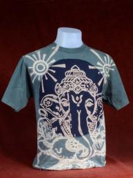 Modern T-shirt met Ganesha grijs-d.blauw patchwork. L