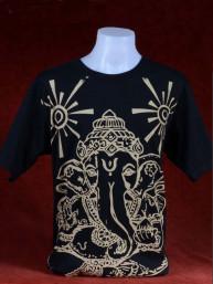 Modern T-shirt met Ganesha zwart